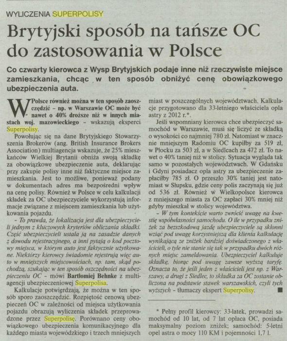 Brytyjski sposób na tańsze OC za zastosowania w Polsce – Gazeta Ubezpieczeniowa