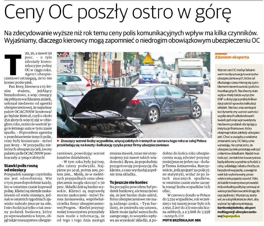 Ceny OC poszły ostro w górę – Express Bydgoski