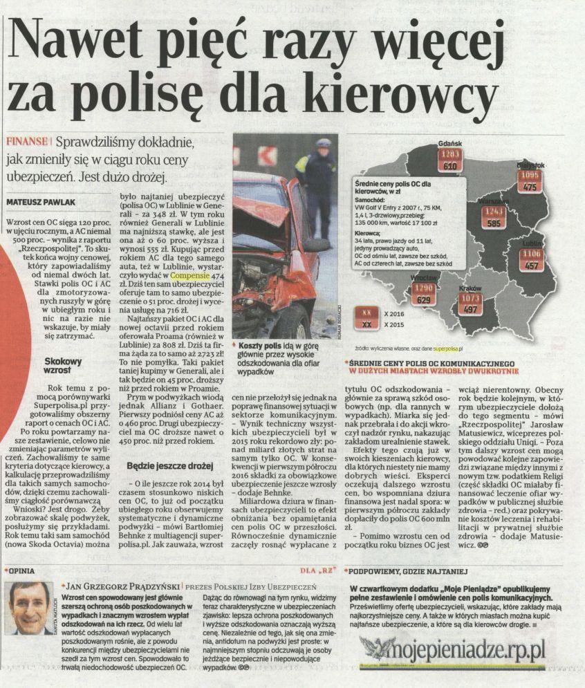Nawet pięć razy więcej za polisę dla kierowcy – Rzeczpospolita