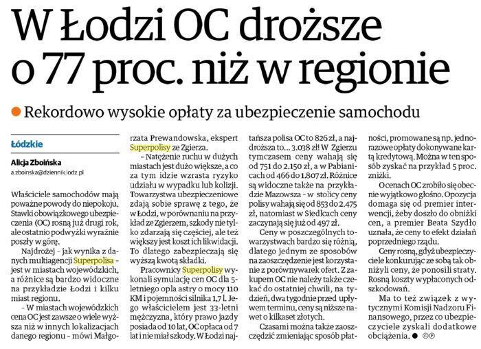 W Łodzi OC droższe o 77 proc. niż w regionie – Dziennik Łódzki