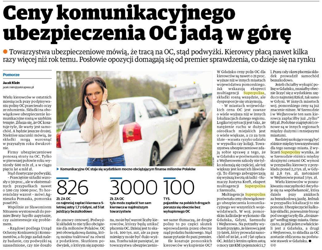 Ceny komunikacyjnego ubezpieczenia OC jada w górę – Dziennik Bałtycki