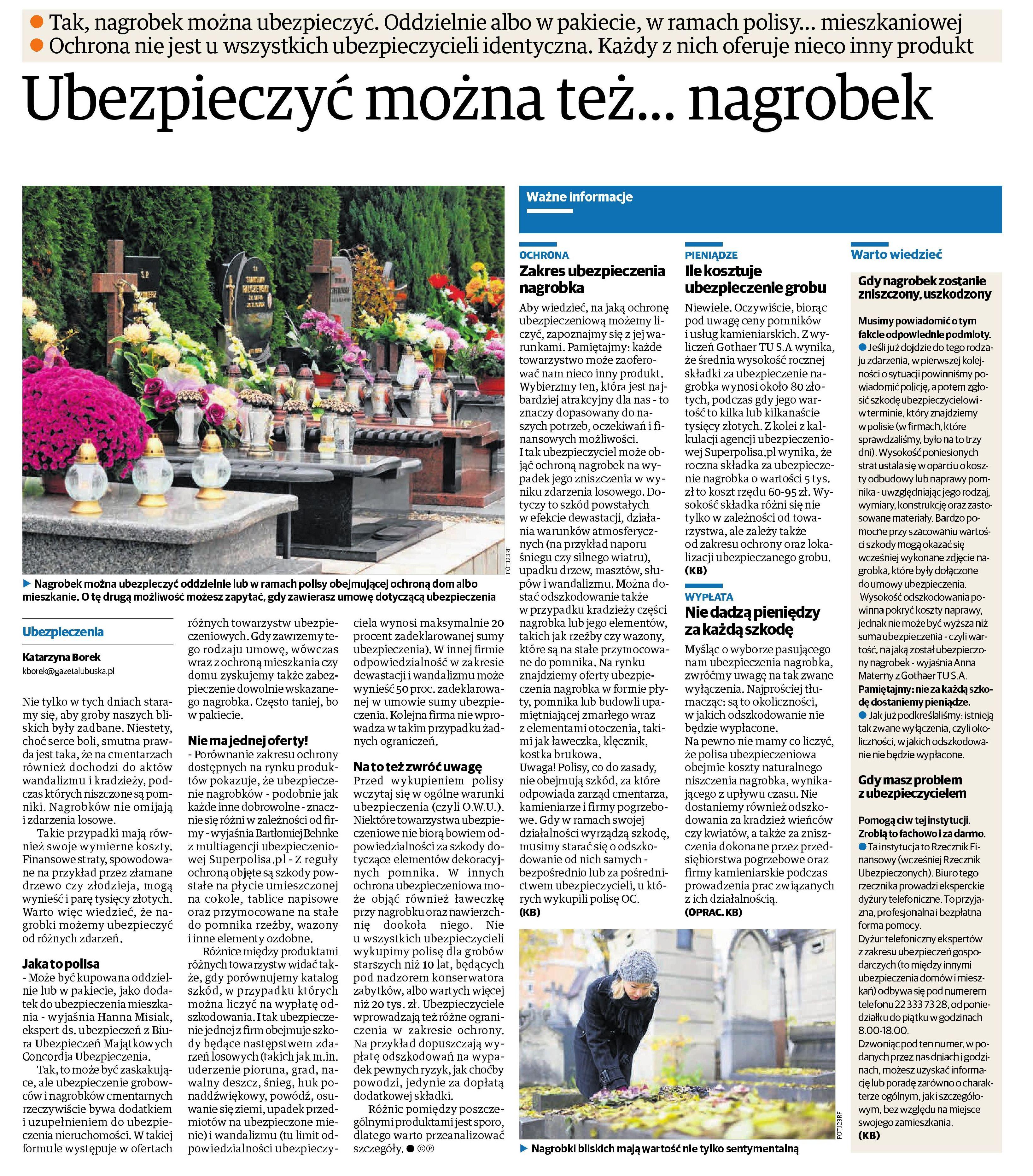 Ubezpieczyć można też…nagrobek – Dziennik grupy Polska Presse