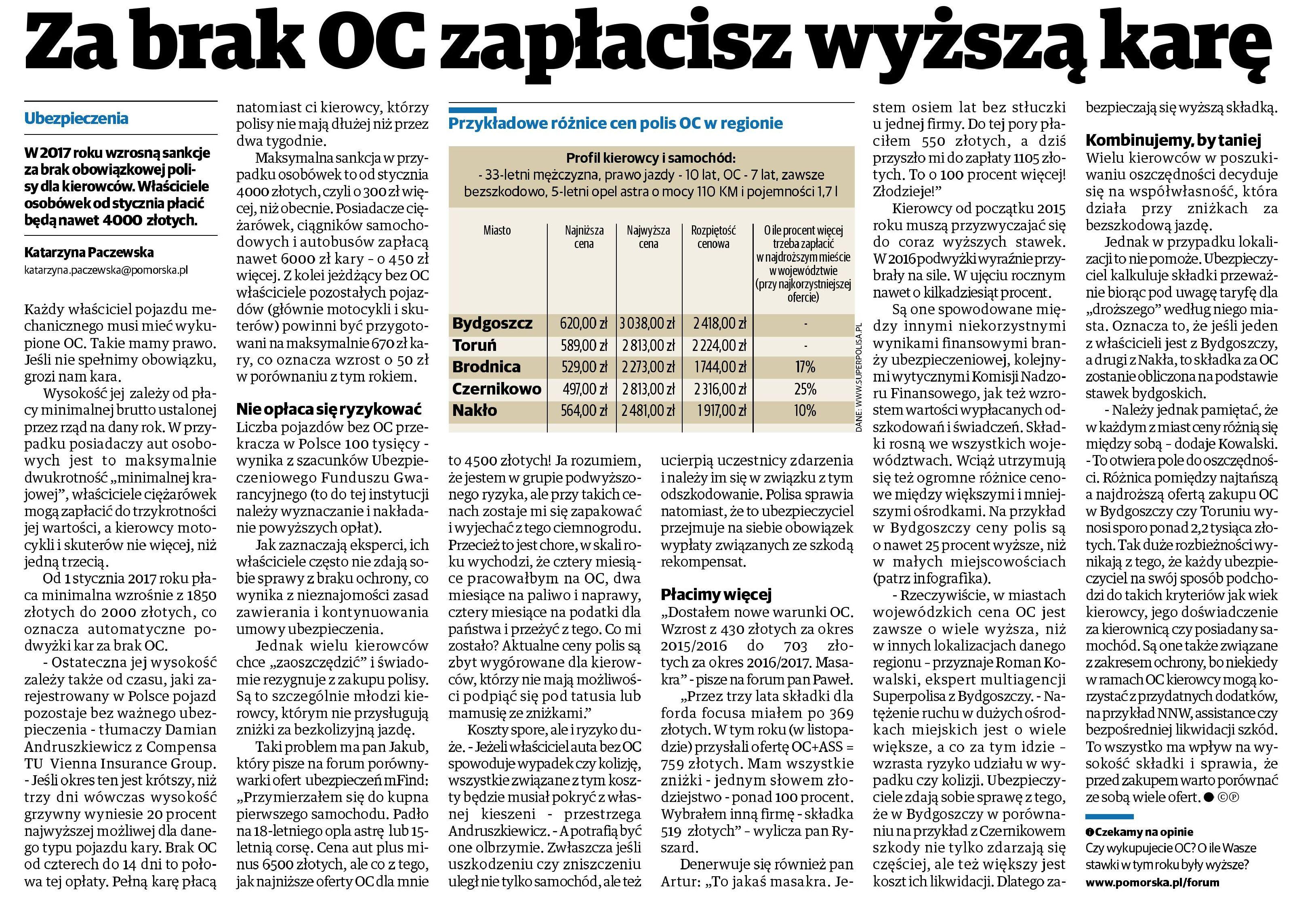 Za brak OC zapłacisz wyższą karę – Gazeta Pomorska