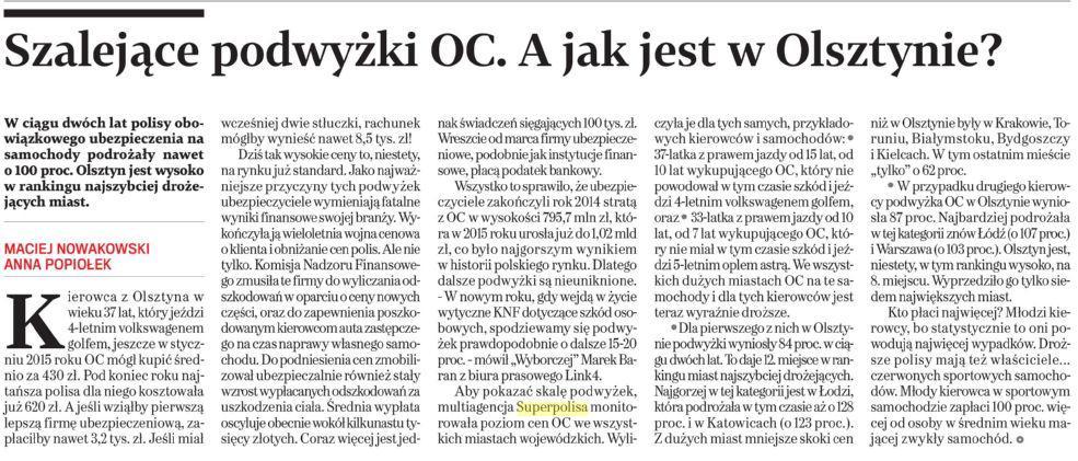 Szalejące podwyżki OC. A jak jest w Olsztynie ?