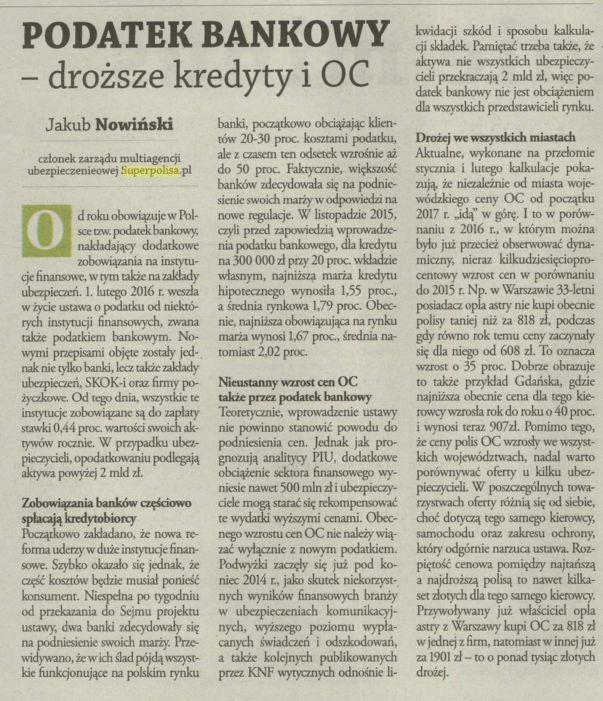 Podatek bankowy – droższe kredyty OC