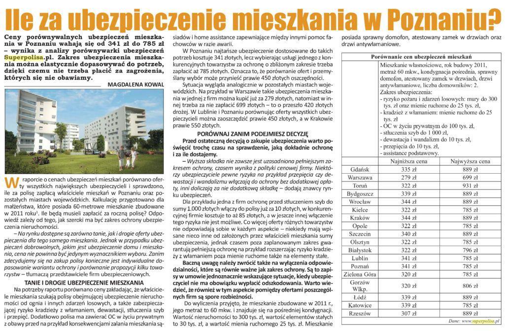 Ile za ubezpieczenie mieszkania w Poznaniu ?