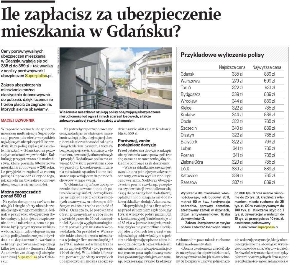 Ile zapłacisz za ubezpieczenie mieszkania w Gdańsku ?