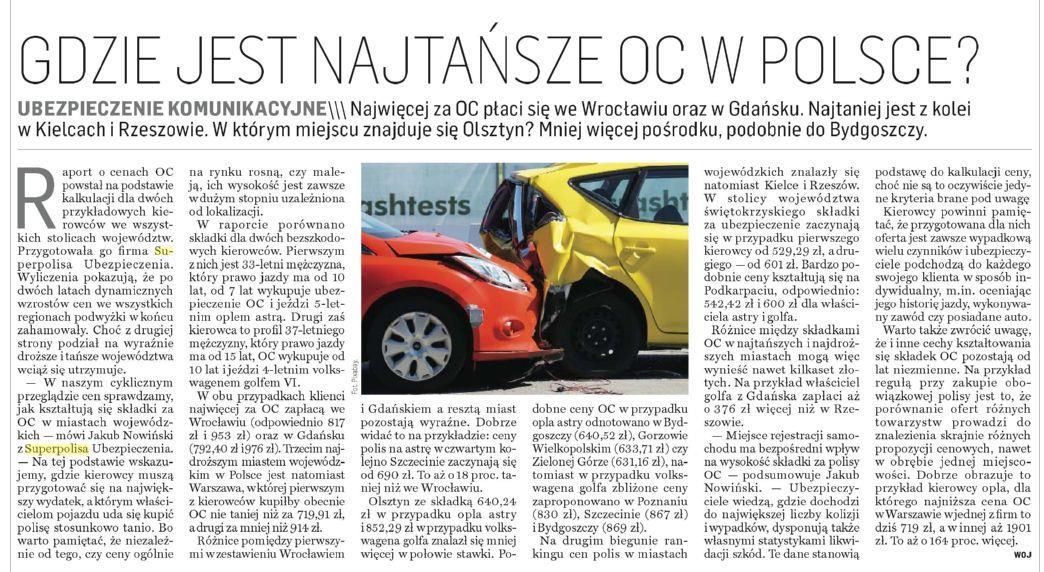 Gdzie jest najtańsze OC w Polsce ?