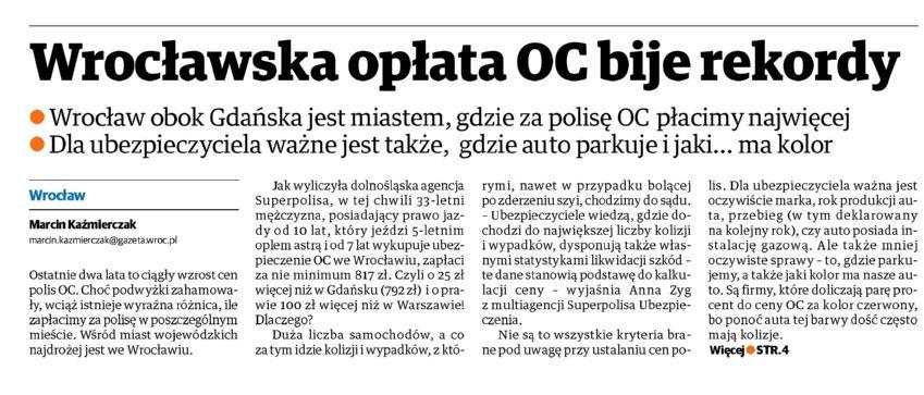 Wrocławska opłata OC bije rekordy